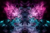 Fantasy Print For Clothes: T-shirts, Sweatshirts. Thick Colorful Smoke Of Pink, Blue Colors Smoke In poster