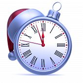 Midnight Hour Clock Face Christmas Ball White Silver Red poster