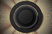 Abstract Golden Black Poster Or Banner. Golden Rings And Black Button Banner. Gold Abstract Backgrou poster