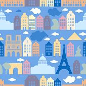 Seamless Pattern With France, The City Of Paris. The Architecture Of The City. Eiffel Tower, Notre D poster