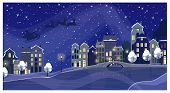 Christmas Night Townscape With Buildings And Santa Claus In Sky. Night Town Scene Vector Illustratio poster