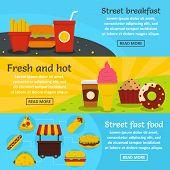 Street Fast Food Banner Horizontal Concept Set. Flat Illustration Of 3 Street Fast Food Banner Horiz poster