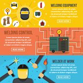 Welding Work Banner Horizontal Concept Set. Flat Illustration Of 3 Welding Work Banner Horizontal Co poster
