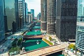 Chicago River With Boats And Traffic In Downtown Chicago poster