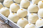Dessert Chinese Pastry : The Dough For Homemade Pastry Making With Salted Egg Yolk And A Scented Can poster