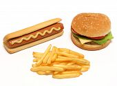 Hamburger, Hot Dog And French Fries