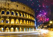 Celebratory fireworks over Collosseo. Italy. Rome