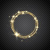 Glitter Gold Circle Frame With Space For Text. Sparkling Golden Frame On Transparent Background. Bri poster