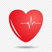 Heart On Isolated Background With Cardiogram. Vector Illustration Of A Pulse On The Heart. Eps. poster