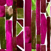 Bauhaus Pattern. Pink Red Geometric Watercolor Abstract Seamless Print. Watercolour Stripe Backgroun poster