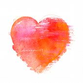 A Watercolour Drawing Of A Vibrant Red And Golden Heart, Hand Drawn On A White Background poster