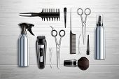 Hairdressing Salon Barber Shop Tools Collection Realistic Top View With Scissors Trimmer Clipper Mon poster