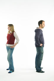 image of conflict couple  - young couple having problems with relationships - JPG