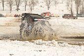 Almaty, Kazakhstan - February 11, 2012. Off-road Racing Jeeps,  Festival