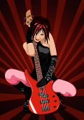 Vector Illustration Of Rock Girl With Guitar