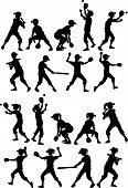 stock photo of fastpitch  - Baseball or Softball  Players Silhouettes of Kids  - JPG