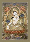 Tangka tibetano Tara Blanca