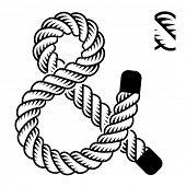 vector black rope ampersand symbol