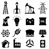 pic of oil derrick  - Oil and energy related icon set in black - JPG