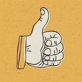 Retro styled thumb up symbol on yellow textured background. Vector illustration, EPS10