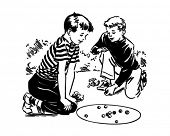 Boys Playing Marbles - Retro Clipart Illustration