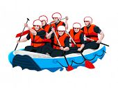 White water rafting men and women team