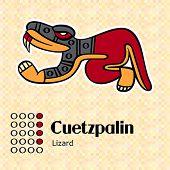 Aztec calendar symbols - Cuetzpalin or lizard (4)