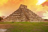 Amazing sky over Kukulkan pyramid in Chichen Itza, Mexico