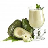 stock photo of avocado tree  - Avocado smoothie isolated on white background - JPG