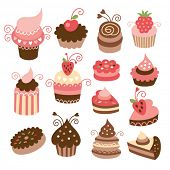 conjunto de cute little cakes