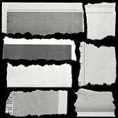 image of cut torn paper  - Pieces of torn paper on black - JPG