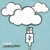Cloud computing concept illustration, usb cabel and clouds icons. Raster version, vector file availa