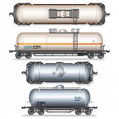 Railroad Gasoline and Oil Tanks. Set of Detailed Vector Illustration.