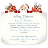 Santa Claus and Rudolph Holding Sign. Vector Background with Space for Your Text