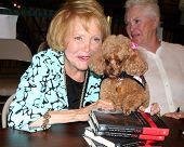 LOS ANGELES - AUG 18:  Lee Bell, with her service dog Joy Bell at the book signing for William Bell