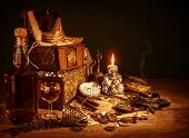 stock photo of skeleton  - Closeup on treasure still life - JPG