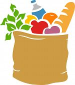 Illustration of Grocery Bag Full of Groceries Stencil