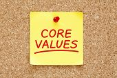 pic of scruple  - Core Values written on yellow sticky note with red marker - JPG
