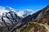 picture of sherpa  - Group of mountain trekkers backpacking in Himalayas landscape Nepal - JPG