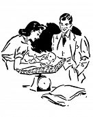 Parents Weighing Baby - Retro Clip Art Illustration
