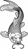 pic of dragon-fish  - A beautiful koi carp fish illustration in monochrome - JPG