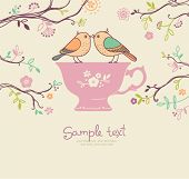 card with cup and birds. coffee or tea background