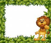 stock photo of leafy  - Illustration of a green leafy frame with a lion - JPG