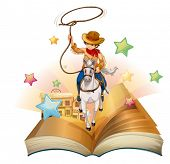 Illustration of a book with a cowboy holding a rope on a white background