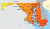 image of maryland  - Vector color map of Maryland state - JPG