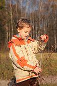 Jongen In herfst hout met touw In handen