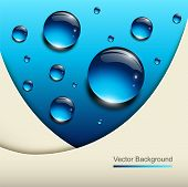 Abstract background with vector blue water drops.