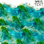 background hand  art watercolour blue green brush texture isolat