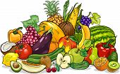 stock photo of exotic_food  - Cartoon Illustration of Fruits and Vegetables Big Group Food Design - JPG