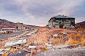 stock photo of chukotka  - Abandoned town in tundra. Surroundings of Anadyr Chukotka region.